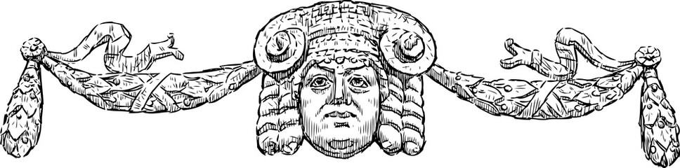 Architectural detail in the form of a Greek mask with garlands