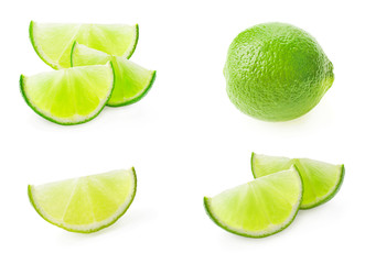 collection of limes isolated on the white background