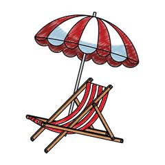 Beach sunchair and umbrella vector illustration graphic design