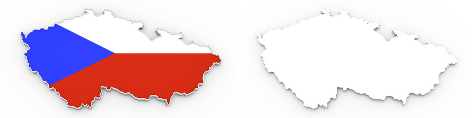 3D map of czech republic white silhouette and flag