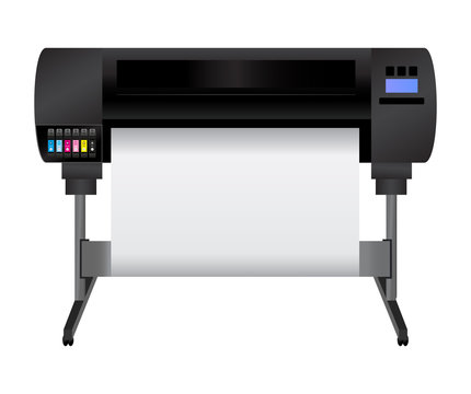 Large inkjet plotter printer for printing many products such as billboards, posters, roll-ups and more large formats with cyan, light cyan, magenta, light magenta, yellow and black inks.