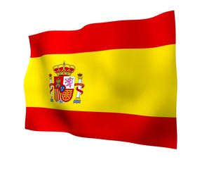 The flag of Spain. Official state symbol of the Kingdom of Spain. Concept: web, sports pages, language courses, travelling, design elements. 3d illustration