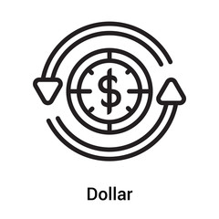 Dollar icon vector sign and symbol isolated on white background, Dollar logo concept