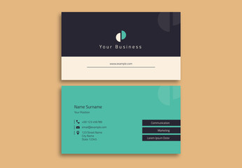 Business Card Layout with Teal Accents