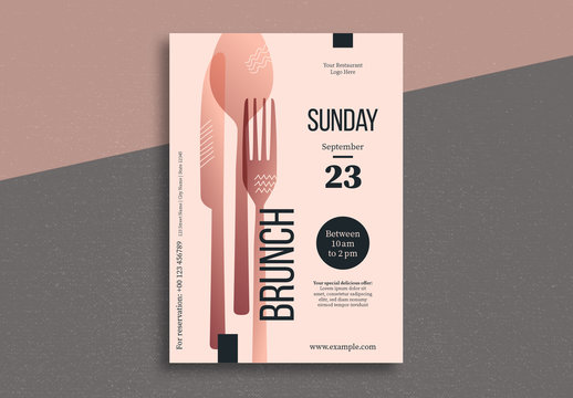 Brunch Flyer Layout with Silverware Illustrations