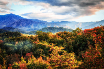 autumn, landscape, mountain, fall, nature, sky, forest, mountains, tree, green, trees, hill, view, blue, color, foliage, beautiful, clouds, season, cloud, colorful, yellow, grass, valley, sunset