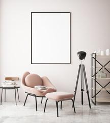 Mock up poster in lounge hipster room, pastel colored, 3d render, 3d illustration