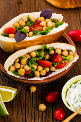 Veggie Pitas with Garbanzo Bean or Chickpea Salad. Selective focus.