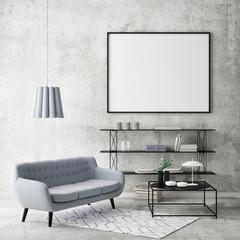 Mock up poster in hipster space, 3d render, 3d illustration