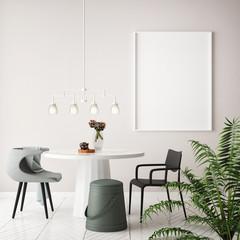 mock up poster frame in hipster interior dining room background, Scandinavian style, 3D render, 3D illustration