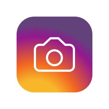 instagram Camera icon on gradient color background vector icon. Simple element illustration. instagram Camera  on gradient color background symbol design. Instagram camera photo icon vintage colours