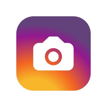 Instagram Camera icon  on gradient color background vector icon. Simple element illustration. Instagram Camera  on gradient color background symbol design. instagram camera with vintage painted colors