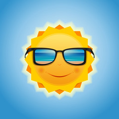 The sun in sunglasses, which reflects the sea and the beach. Smiling sun with sunglasses. Summer sun against the sky. Vector illustration