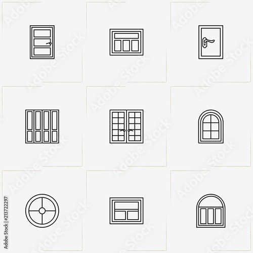 Windows And Doors Line Icon Set With Double Door Window And Round