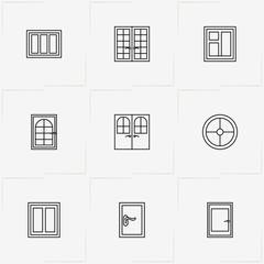 Windows And Doors line icon set with round window, window and door