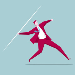Businessman throwing a javelin,The background is blue.
