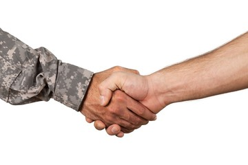 Soldier and Man Shaking Hands