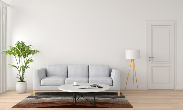 grey sofa and lamp in white living room, 3D rendering
