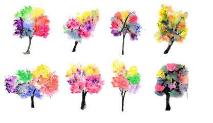 Collection of colorful trees on white background, watercolor illustrator, hand painted, tree art