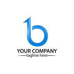 Letter B with number one on white background. logo with a basic gradient,