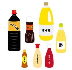 調味料と油のイラストセット