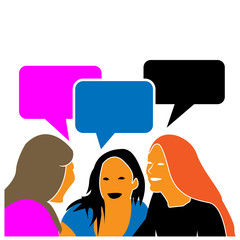 Three sitting women adult talking. Vector illustration
