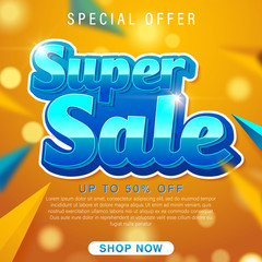Super Sale poster, banner. Big sale, clearance. 50% off