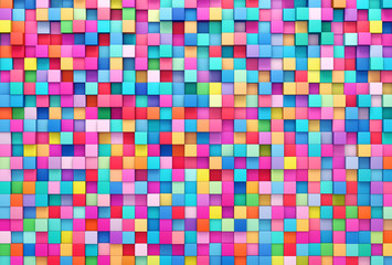 3D rendering abstract background of multi-colored cubes wall