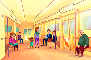 People in subway metro vector illustration of elderly man and woman or businessman and office manager sitting in train. Pregnant black mother and daughter, boy with in smartphone and girl reading book
