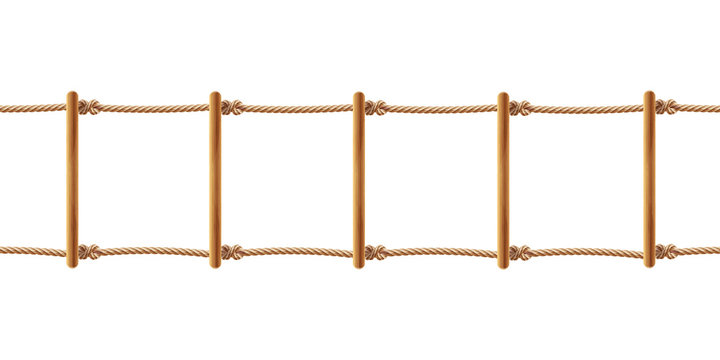 Vector realistic brown rope ladder isolated on white background. Staircase with cords and wooden rods, equipment for climbing up or down. Decorative horizontal seamless pattern for your design