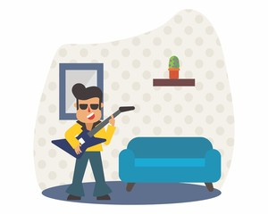 guitarist rocker music musician musical artist concert performance cartoon character