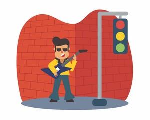 guitarist rocker music musician musical artist concert performance cartoon character