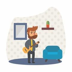 guitarist music musician musical perform cartoon character