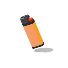 Retro Vintage Lighter standing upright on isolated white background - 3D illustration