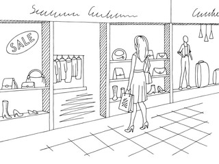 Shopping mall graphic black white interior sketch illustration vector. Woman standing