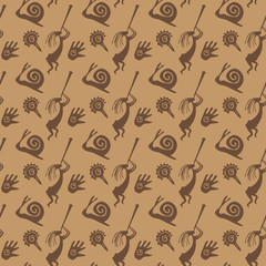 African seamless pattern with original inhabitants