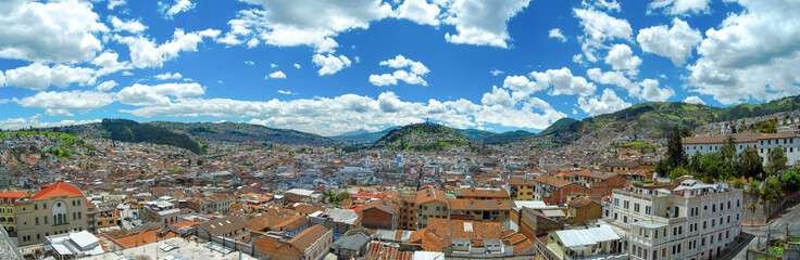 Panorama of the historical center of the capital of Ecuador from the Basílica of the National Vow. Quito. Ecuador.
