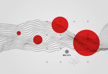 Big data. Wavy background with motion effect. 3d technology style. Vector illustration.. Wall mural