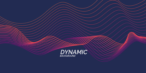 Bright poster with dynamic waves. Illustration minimal flat style