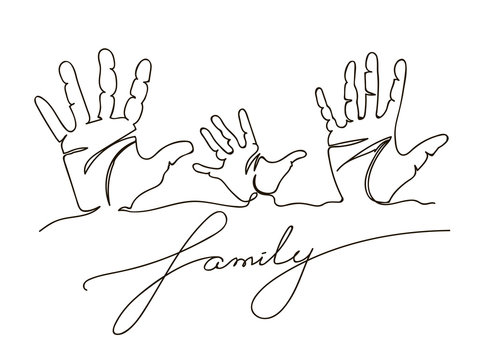 Family handprints. Continuous line drawing