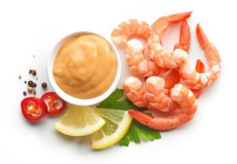 boiled prawns and salsa sauce