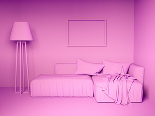 Monochrome pink interior