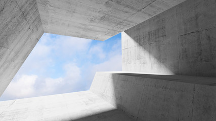 White concrete interior with blue cloudy sky
