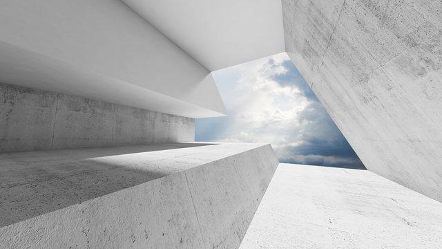 Empty white concrete interior with cloudy sky