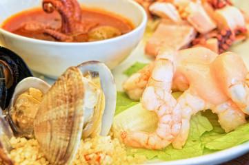 Mixed seafood plate closeup