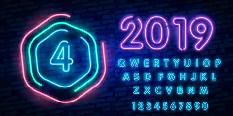 Number Four symbol neon sign vector. Number Four template neon icon, light banner, neon signboard, nightly bright advertising, light inscription. Vector illustration