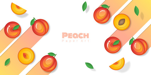 Fresh peach fruit background in paper art style , vector , illustration