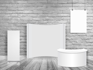 Vector blank exhibition trade show booth mock up in white brick wall room, Loft workspace concept