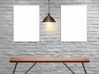 Vector Mock up poster on white brick wall in interior with wood table, Loft workspace concept