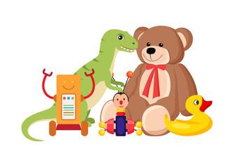 Teddy Bear and Dinosaur Set Vector Illustration